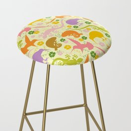 Animals Exotic Pastel Colors Shapes Pattern Bar Stool