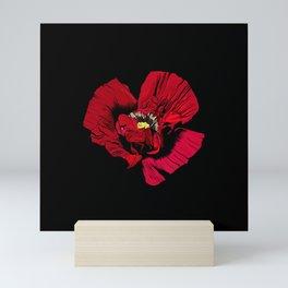 Seasons K Designs Red Poppy on Black Print Mini Art Print