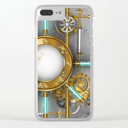 Steampunk Round Banner with Pressure Gauge Clear iPhone Case