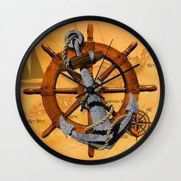 Nautical Ships Wheel And Anchor Wall Clock