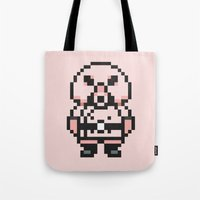 earthbound Tote Bags featuring Pigmask - Mother 3 / Earthbound 2 by Studio Momo╰༼ ಠ益ಠ ༽
