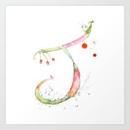 Letter J watercolor - Watercolor Monogram - Watercolor typography - Floral lettering Art Print