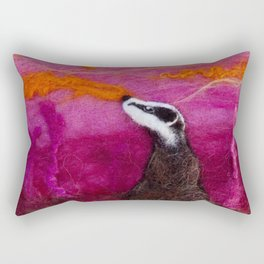 Pink Moon Badger, sunset textile art, wool painting by The Wonky Fox Rectangular Pillow