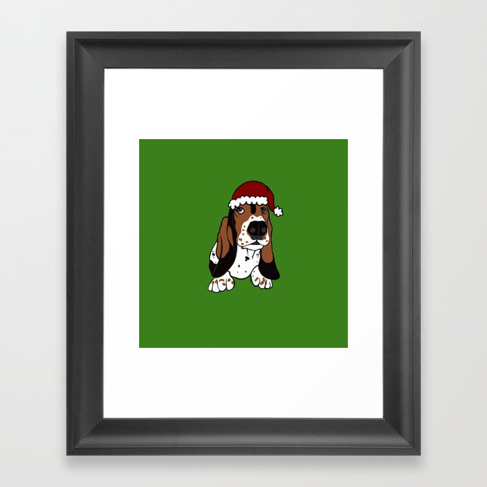 A Basset Full of Christmas Framed Art Print