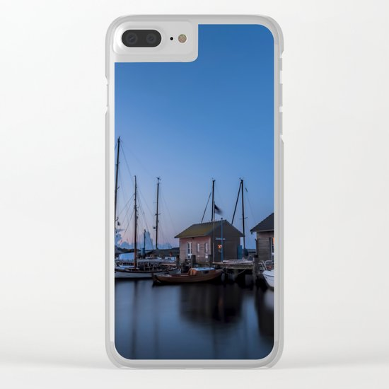 Blue hour at harbour I - Ocean Summer Night Boats- #Society6 Clear iPhone Case