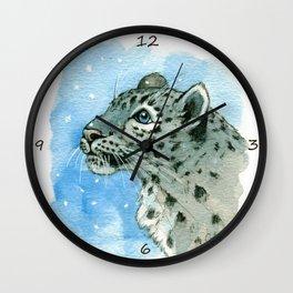 Snow Leopard & snowflakes 860 Wall Clock