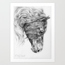 BLACK FRIESIAN HORSE portrait Black & White pencil drawing Art Print