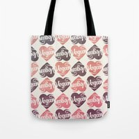 vegan Tote Bags featuring Vegan Love by Pixel Pop