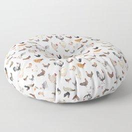Chicken Happy on Cream Background Floor Pillow