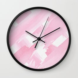 Girly Pink Giant Watercolor Brushstrokes Wall Clock