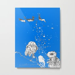 Two Tailed Duck and Jellyfish Royal Brilliant Blue Metal Print