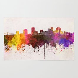 New Orleans skyline in watercolor background Rug