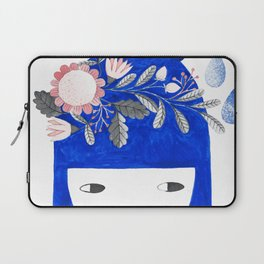 blue girl with raindrops and floral watercolor Laptop Sleeve