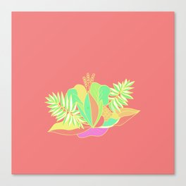 Hot tropical flowers and palms Canvas Print