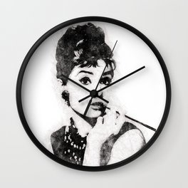Audrey Hepburn portrait 04 Wall Clock