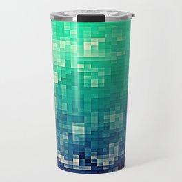 Green Teal Blue Pixels Travel Mug