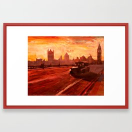 London Taxi Big Ben Sunset with Parliament  Framed Art Print