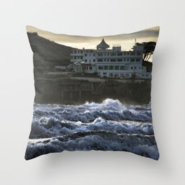 Stormy Burgh Island Hotel Throw Pillow