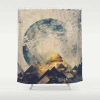 aqua Shower Curtains featuring One mountain at a time by HappyMelvin