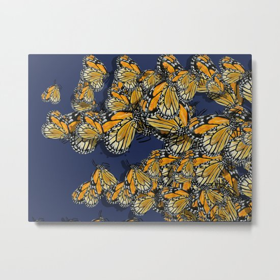 Butterfly Frenzy Spring Navy Metal Print