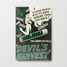 1942 Anti Marijuana Poster, Vintage Reefer Madness Poster, Devils Harvest, The Smoke of Hell, Old Fashioned Large Print Weed Stoner Decor Metal Print