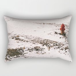 Snowy Fire Hydrant Rectangular Pillow
