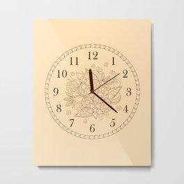 beige floral clock Metal Print