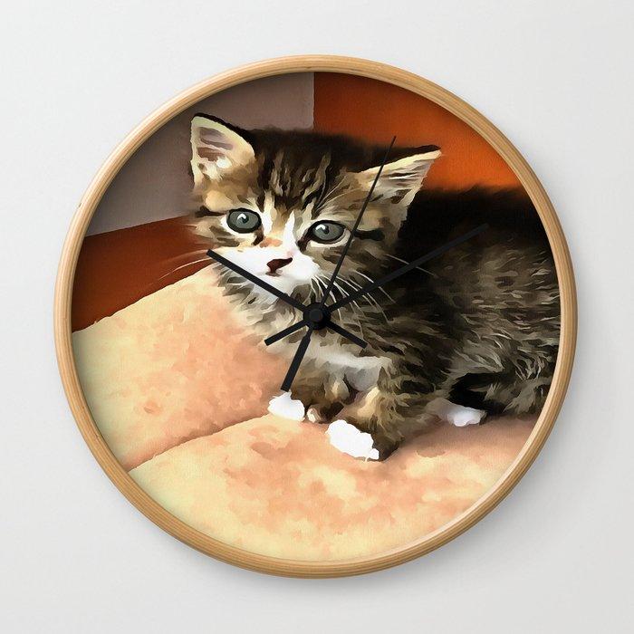 Tabby Cat Named Pipsqueak  Wall Clock