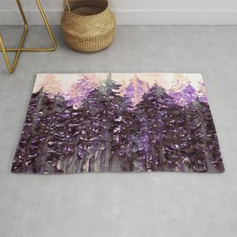 NORTHWEST VIBES Colorful Watercolor Painting Forest Trees Violet Green Modern Nature Art West Coast  Rug