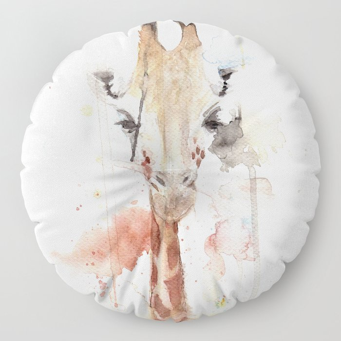 "Watercolor Painting of Picture ""Portrait of a Giraffe"" Floor Pillow"