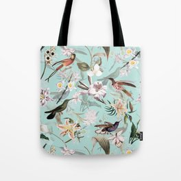 Vintage & Shabby Chic - Teal Tropical Bird Garden I Tote Bag