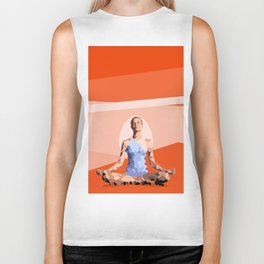 Feminine energy. A woman meditates in the Lotus position. Abstract orange painting. Biker Tank