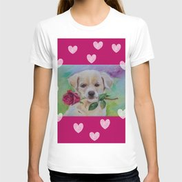 Labrador dog puppy with pink rose flower and hearts Valentine's Day gift T-shirt