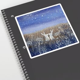 Hares and the Crescent Moon Sticker