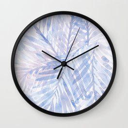 Muted Blue Palm Leaves 02 Wall Clock