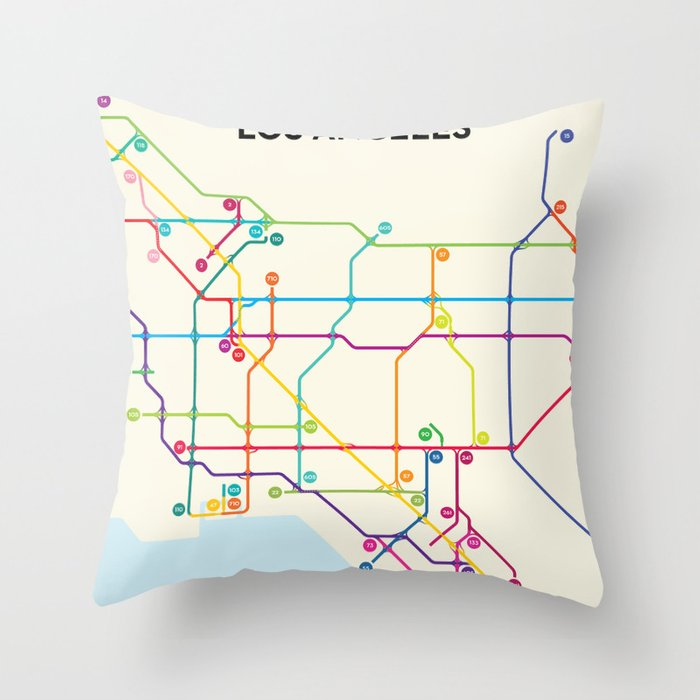 Los Angeles Freeway System Throw Pillow