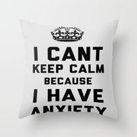 anxiety Throw Pillows featuring Anxiety by LuxuryLivingNYC