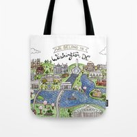 washington dc Tote Bags featuring Washington DC by Brooke Weeber