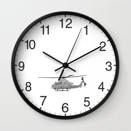 American Grey Attack Helicopter Wall Clock