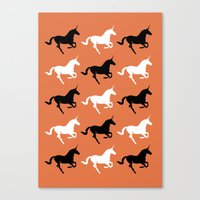 unicorns Canvas Prints featuring Unicorns by Fabian Bross