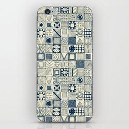 wolf geo blue ivory iPhone Skin
