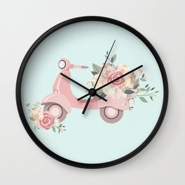 Vintage moped with flowers Wall Clock