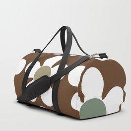 Spring Daisies on Soil Brown Duffle Bag