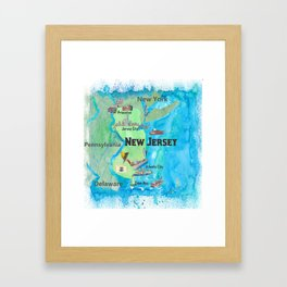 USA New Jersey State Travel Poster Map with Touristic Highlights Framed Art Print