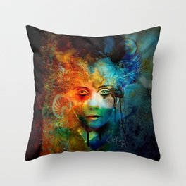 Les Deux Visages Throw Pillow