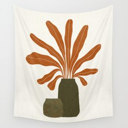 Two Green Vases & Orange Plant Wall Tapestry