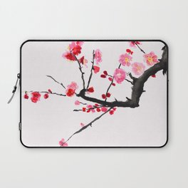 red plum flower red background Laptop Sleeve