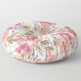 Pastel Pink and Cream Blossom on White Floor Pillow