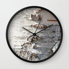 Full frame of birch bark tree detailed texture in close-up Wall Clock