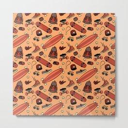 Skate life pattern orange Metal Print